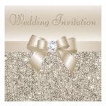 Champagne Sequins, Bow & Diamond Wedding Personalized Invite