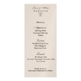Champagne Shimmer Menu Card for Weddings Galas