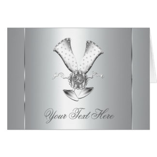 Champagne Silver 25th Anniversary Cards