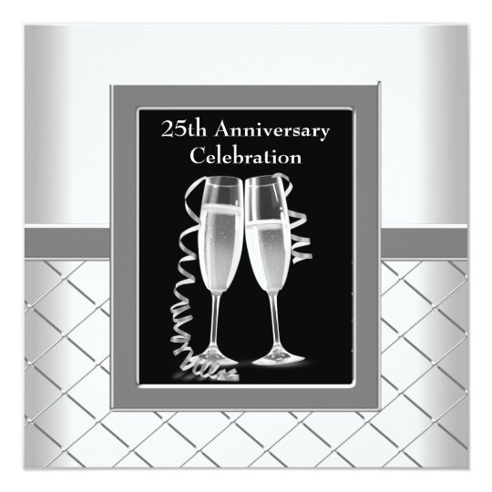 Champagne Silver 25th Wedding Anniversary Party Card