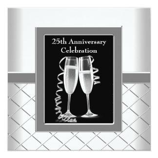Champagne Silver 25th Wedding Anniversary Party Custom Invite