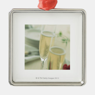 Champagne Silver-Colored Square Decoration