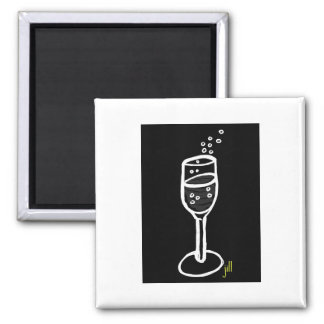CHAMPAGNE SKETCH in white on black by Jill Magnet