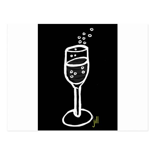 CHAMPAGNE SKETCH in white on black by Jill Postcard