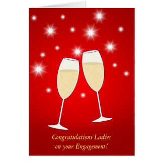 Champagne Sparkle Engagement Card for Lesbians
