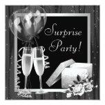 Champagne Sparkles Black White Surprise Party