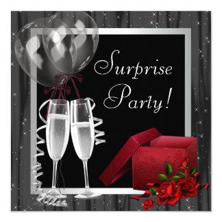 Champagne Sparkles Black White Surprise Party 13 Cm X 13 Cm Square Invitation Card