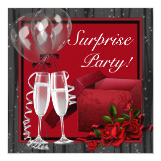 """Champagne Sparkles Red Surprise Party 5.25"""" Square Invitation Card"""