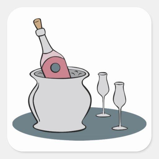 Champagne Square Stickers