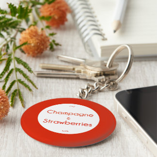 Champagne & Strawberries Key Ring