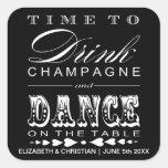 Champagne Theatre Bill Wedding Favour Sticker