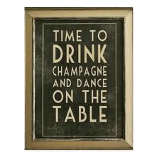 CHAMPAGNE: TIME TO EAT, DRINK, DANCE Postcard