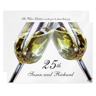 Champagne Toast/ 25th Anniversary 13 Cm X 18 Cm Invitation Card