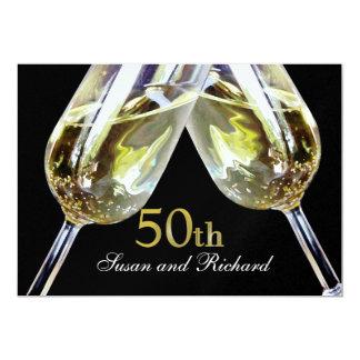 Champagne Toast 50th Anniversary 13 Cm X 18 Cm Invitation Card