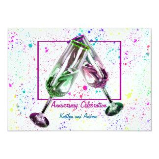 Champagne Toast/ Anniversary Party 13 Cm X 18 Cm Invitation Card