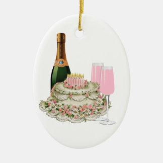 Champagne Toast Birthday Ceramic Oval Decoration