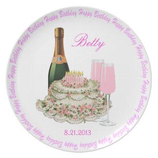 Champagne Toast Birthday Dinner Plate