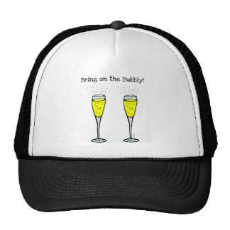 """CHAMPAGNE TOAST """"BRING ON THE BUBBLY"""" MESH HAT"""