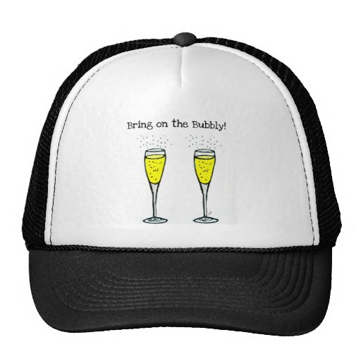"CHAMPAGNE TOAST ""BRING ON THE BUBBLY"" MESH HAT"