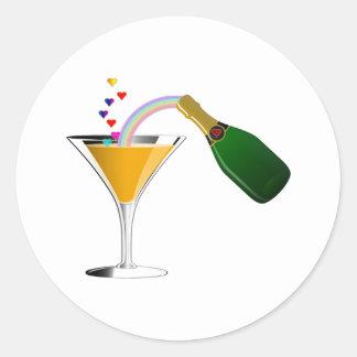 Champagne Toast Classic Round Sticker