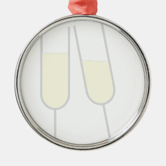 Champagne Toast Silver-Colored Round Decoration