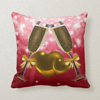 Champagne Toast Double Hearts Brown & Red Hearts Throw Cushions