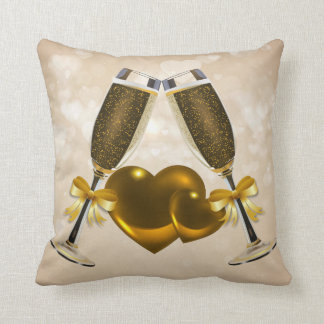 Champagne Toast Double Hearts Cushions