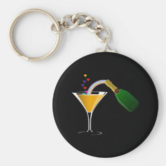 Champagne Toast Basic Round Button Key Ring