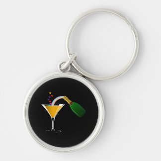 Champagne Toast Silver-Colored Round Key Ring
