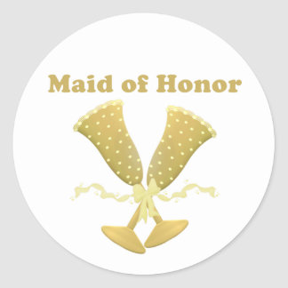 Champagne Toast Maid of Honor Gift Round Sticker
