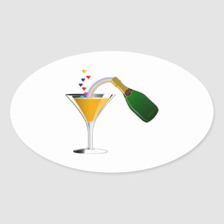 Champagne Toast Oval Sticker