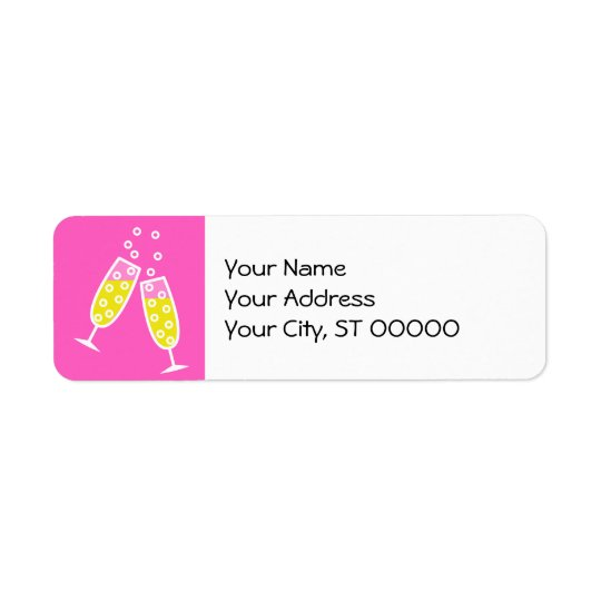 Champagne Toast - pink Return Address Label