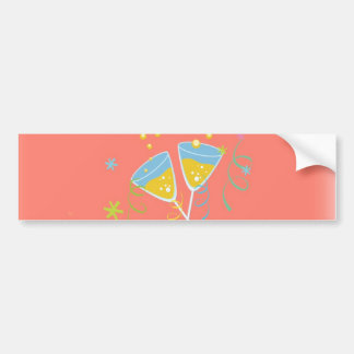 Champagne Toast. Retro Birthday Party Pink Vintage Bumper Stickers