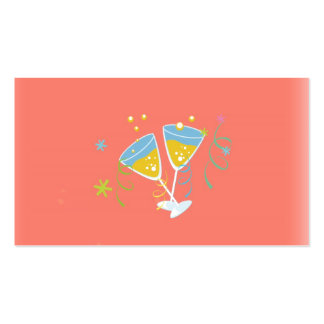 Champagne Toast. Retro Birthday Party Pink Vintage Business Card Template