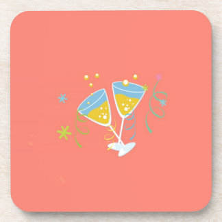 Champagne Toast. Retro Birthday Party Pink Vintage Beverage Coasters