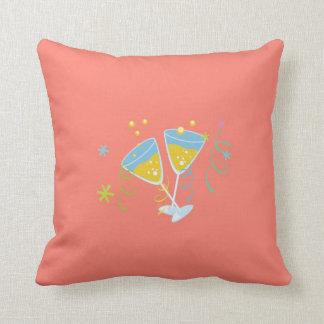Champagne Toast. Retro Birthday Party Pink Vintage Throw Pillow