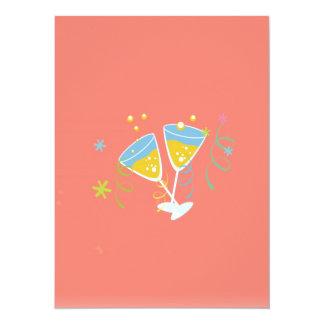 Champagne Toast. Retro Birthday Party Pink Vintage Custom Invites