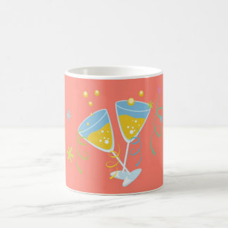 Champagne Toast. Retro Birthday Party Pink Vintage Coffee Mug
