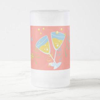 Champagne Toast. Retro Birthday Party Pink Vintage Mug