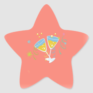 Champagne Toast. Retro Birthday Party Pink Vintage Stickers