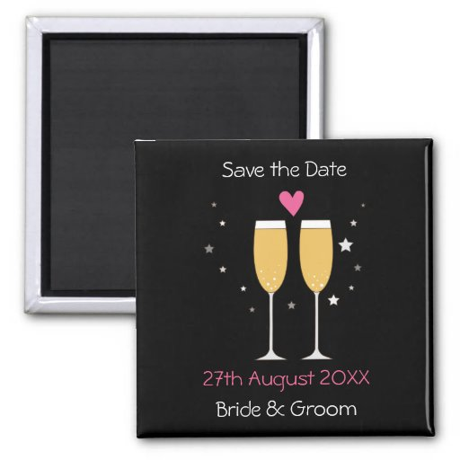 Champagne Toast Save The Date Magnet