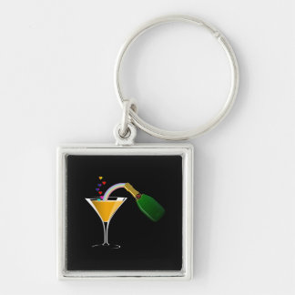 Champagne Toast Silver-Colored Square Key Ring
