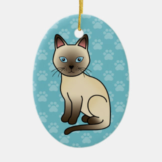 Champagne Tonkinese Cat Ceramic Oval Decoration