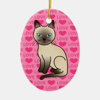 Champagne Tonkinese Cat Love Ceramic Oval Decoration