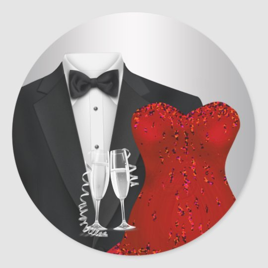 Champagne Tuxedo Red Dress Party Stickers