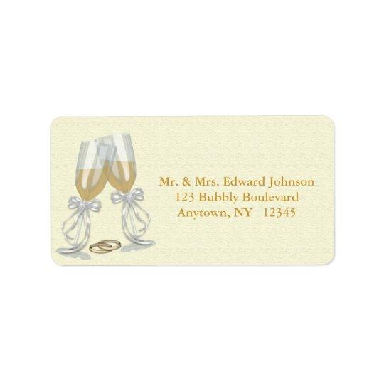 Champagne Wedding Address Label