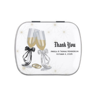 Champagne Wedding Thank You Jelly Belly Candy Tins