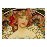 Champagne Woman 1897 - F. Champenois Imprimeur Greeting Card