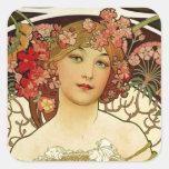 Champagne Woman 1897 - F. Champenois Imprimeur Square Sticker
