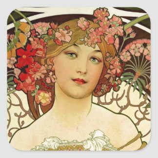 Champagne Woman 1897 - F. Champenois Imprimeur Square Sticker
